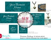 Etsy's New Size! TEAL Etsy Cover Package with PHOTOS! (Custom product picture banner) Peacock Blue Floral Design, Personalized Shop Graphics