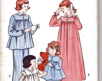1950s Butterick 6199 (Size 8) Girls Nightgown & Pajamas Pattern 1952 Vintage Sewing Pattern 50s