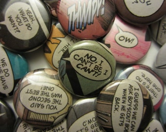 Comic Book Quotes: Superhero Names (Pinbacks or Magnets)