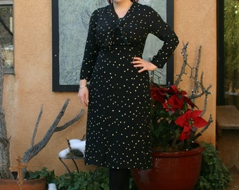 Vintage 1940s Silk Black and White Polka Dot Long Sleeve Day Dress L/XL