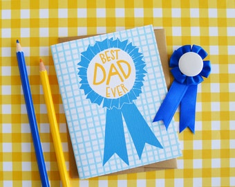 Best Dad EVER, Happy Father's Day, Father's Day Card, #1 Dad, Daddy, Greeting Card, Stationery, Hand Drawn, Illustration
