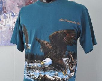 Vintage Lake Winnipesaukee Tee TShirt NH Bald Eagle Nature Science Animal Double Wrap around LARGE