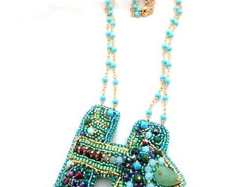 Long turquoise necklace , bead embroidered necklace , 24 carat & gemstones necklace , handmade jewelry , bespoke jewellery