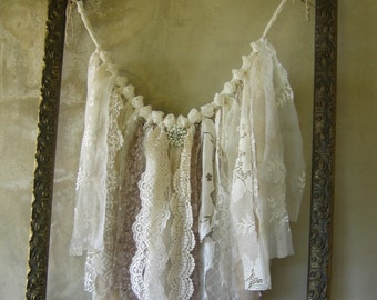 French Country Fabric Garland Banner Shabby Chic Ragtie Fringe Frayed Rag Tattered Handmade Wallhanging Wedding Shower Birthday Home Decor