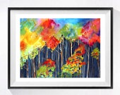 3. Tree Print Aspen Forest Art, Watercolor, Painting  Watercolour landscapeof the woods, Fall painting, Countryside artwork, Rainbow colors