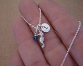 Tiny seahorse necklace - Tiny silver initial - Flower girl beach theme necklace - Beach wedding flower girl - Photo NOT actual size