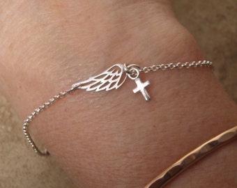 Silver wing bracelet - Tiny cross bracelet - Angel wing - Dainty sterling silver bracelet