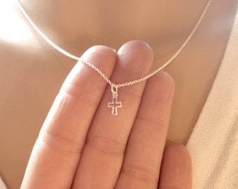 Tiny cross necklace - Dainty, simple silver necklace - Small cross - Sterling silver cross necklace - Photo NOT actual size