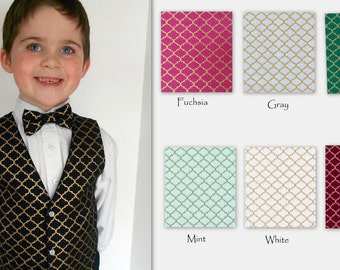 Black and Gold Vest with Tie - Infant to Boys size 7 -Fuchsia, Gray, Green, Mint,White, Burgundy