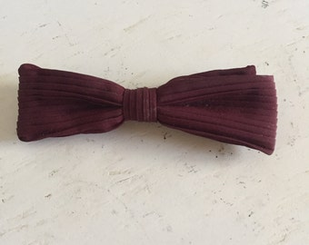 Vintage Mid Century Mens Burgundy Stripe Clip On Bow Tie