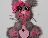Gray and Pink Easter Bunny Tear Bear Paper Piecing Embellishment for Scrapbooking, Card Making and any other Craft