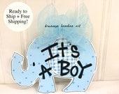 FREE SHIPPING - It's a Boy Elephant Door Hanger - Bronwyn Hanahan Art