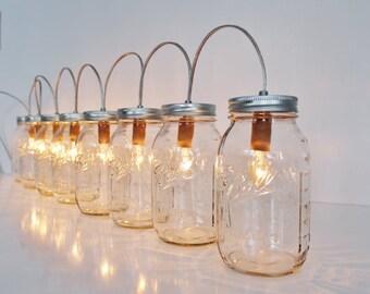 Custom Order For mzbee, Mason Jar Banner Lighting Fixture Featuring 6 Clear Quart Jars, Rustic Mason Jar Lamp For Table, BootsNGus Lighting