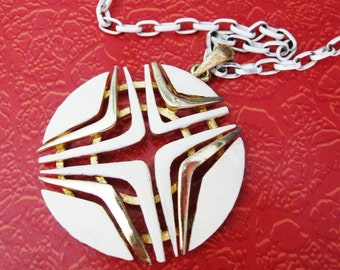 Mod Medallion Necklace, White and Gold Atomic Design