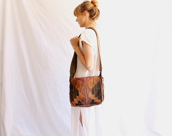 vintage 70s leather bag patchwork saddle bag