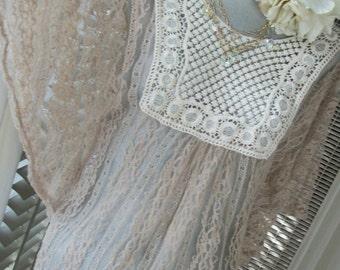Edwardian Style Nude Lace Crochet Sheer Blouse Wedding Orig Design Boho 70s Vibe Size Med