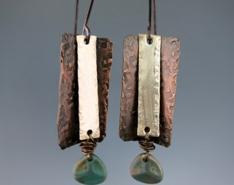 Silver & Copper Earrings, Mixed Metal Layered Dangle Earrings, Choice of Copper or Sterling Silver Earwire, Ready to Ship