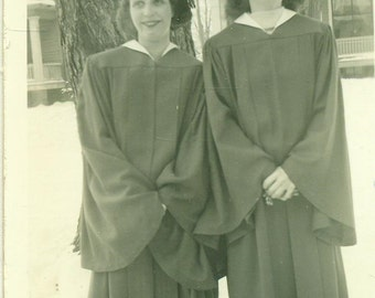 1947 Graduation Day Friends Standing in Cap Gown Outside Snow Winter 1940s Vintage Black and White Photo Photograph