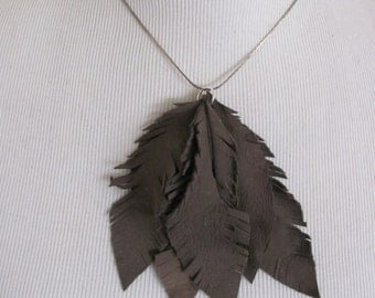 Beautiful Brown Soft Suede Leather Feather Fringe Necklace and Earring Set (9E)