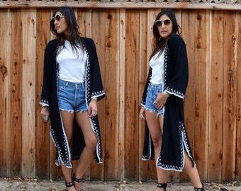 Vintage 70s Black EMBROIDERED Boho DUSTER Caftan Jacket Kimono
