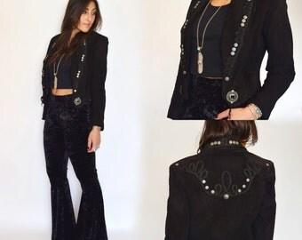 Vintage 80s BOLERO WESTERN Boho Southwestern Mariachi LEMMY Cropped Suede Jacket S