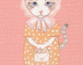 Princess of the cats - Puppy - cats drawing - ORIGINAL ILLUSTRATION / cat drawing  / Colored pencil drawings / lady cat art