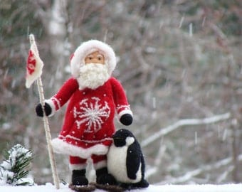 Christmas Needle Felted  Santa Claus or Father Christmas and Penguin Polar Opposites OOAK Soft Sculpture by McBride House