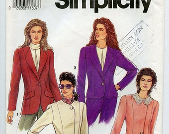 Vintage 90s Simplicity 7387 Womens Blazer Jacket UNCUT Sewing Pattern Sizes 6-14