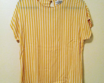 Vintage Striped Yellow Blouse
