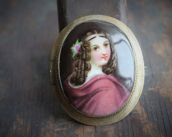 Victorian Lady Hand Painted Portrait Brooch