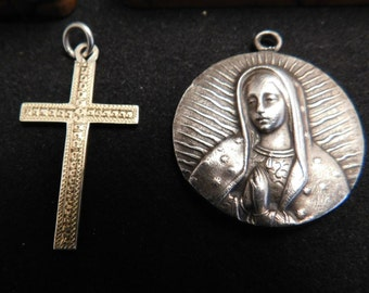 Religious Sterling Silver Vermeil Cross and Madonna Pendant, Olive Wood Religious Box,Vintage Crucifix w/Madonna, Silver Religious Medal