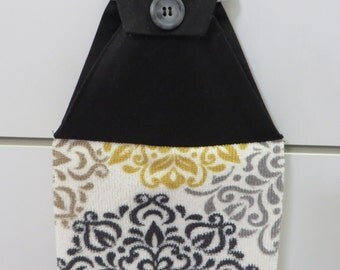 Black & Yellow Hanging Hand Towel Buttoned Cotton Top Hangs Double Microfiber