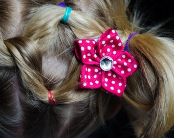 Hair Bow - Dark Pink with Polka Dots Grosgrain 5 Petal Hair Flower