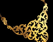 Statement Bib Necklace - Gold Brass Cat Hiding in Ornate Baroque Leaves - FELINE in the FOLIAGE