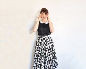 checkered mid century circle skirt . white black crown compass and fleur de lis .extra small.xs .sale