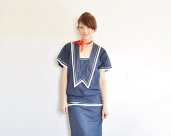 navy blue sailor girl dress . nautical 1980 drop waist frock .small