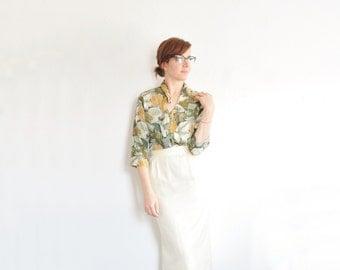 leaf print silk safari blouse . green jungle fern long sleeve top .small.medium