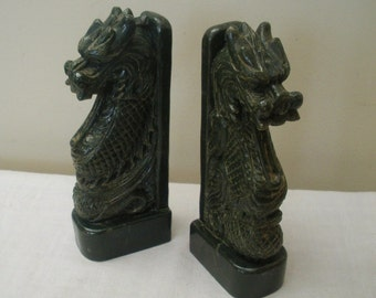 Vintage Green Asian Dragon Bookends