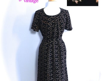 Fab 50s Vintage Wiggle Dress Large size, 1950s Black Dress with Pink embroidered Stars LG XL