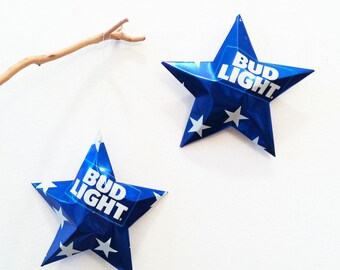 Bud Light Beer Limited Edition Star Can, July 4th,  Stars Christmas Ornaments Aluminum Can Upcycled Budweiser