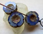 NEW BLUE OPAL Blooms . Czech Picasso Glass Beads . 16 mm (4 beads)