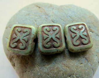 NEW Swirly Rectangles . Czech Pressed Picasso Glass Beads . 12 mm  (8 beads)