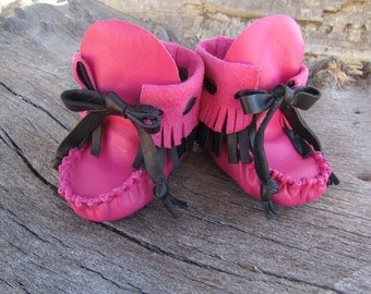 "Baby Moccasins By Desi, Pink, Black Leather, 3-6 months, 3 3/4"" long,  Fringe Boots, Infant, Girl,Booties, Valentine's Day Outfit shoes,"