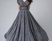 Dress, maxi dress, empire waist dress, linen clothing women, party dress, romantic dress, floor length dress, custom made dress 1492