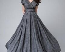 Gray maxi dress, empire waist dress, Garden party dress, romantic womens dresses, linen clothing, floor length dress, custom made dress 1492