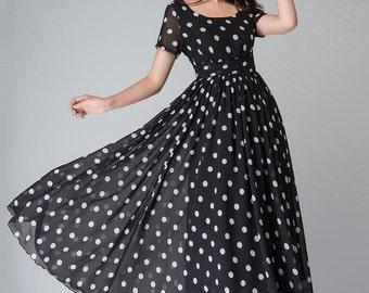 Polka dot dress, black and white dress, empire waist dress, maxi dress, summer dress, short sleeves dress, party dress, Evening dress 1515