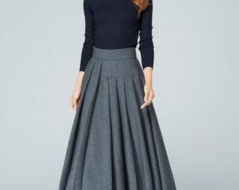 Wool skirt, plus size skirt, long skirt, grey skirt, pleated skirt, ladies skirts, winter skirt, warm skirt,high waisted skirt,handmade 1587