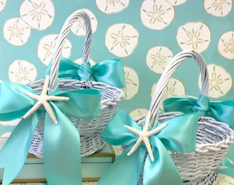 Beach Wedding Flower Girl Basket with Starfish and Ribbons - 8 Ribbon Choices