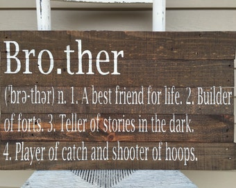 brother definition sign, reclaimed wood sign, siblings sign, brother sign, nursery wall art, children wall decor, kids room decor,