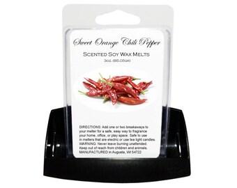 SWEET ORANGE Chili Pepper Soy Melts - Wax Tarts - Soy Tarts - Candle Tarts - Melting Tart - Scented Tart - Tart Melt - Wax Melt - Dye Free